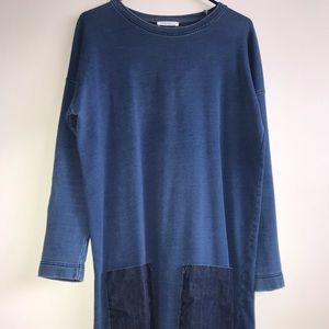Zara Blue Long sleeve denim pockets sweater